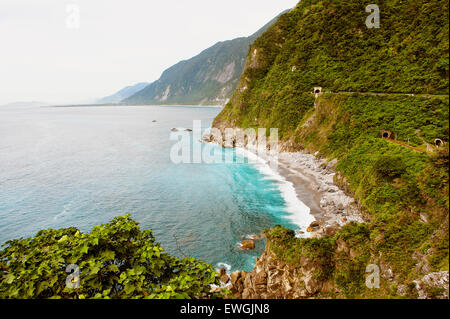 A view of the coast along Su-hua Highway, Huide Trail near Taroko GorgeTaiwan - Stock Photo