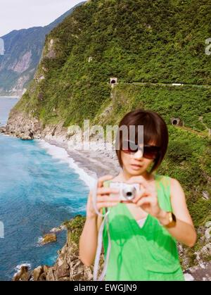 A view of the coast along Su-hua Highway, along the Huide Trail near Taroko Gorge Taiwan - Stock Photo