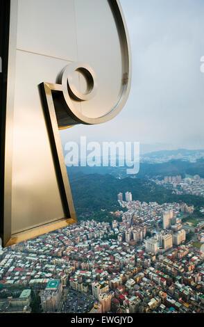 View of Taipei from the 88th floor of Taipei 101. Taipei 101 is a 101-floor landmark skyscraper located in Taipei. - Stock Photo