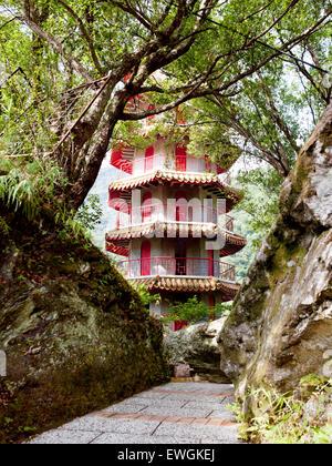 Hsiang-te (Tienhsiang ) Pagoda. Taroko Gorge. Taiwan. - Stock Photo