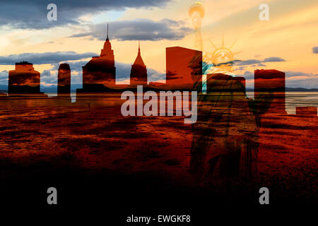 Post-apocalyptic war scenario in New York with ghost city skyline at sunset with outline of Liberty Statue in overlay, - Stock Photo