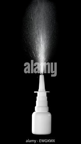 Stock image of nasal spray bottle while spraying over black background - Stock Photo