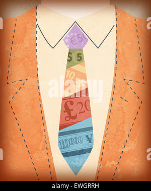 Midsection view of businessman with international currency symbols on tie - Stock Photo