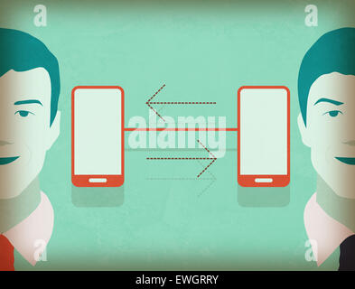 Illustrative image of businessmen connected view networking - Stock Photo