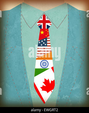 Midsection view of businessman with international flag symbols on tie - Stock Photo