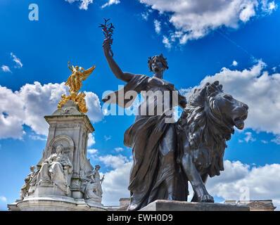 The Victoria Memorial is a monument to Queen Victoria, located at the end of The Mall in London - Stock Photo