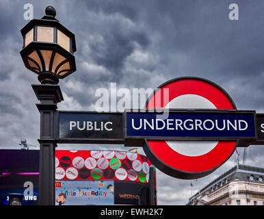 Piccadilly Circus is a road junction and public space of London's West End in the City of Westminster, built in - Stock Photo
