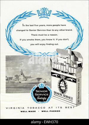 1960s advertisement magazine advert for Senior Service cigarettes circa 1960 - Stock Photo
