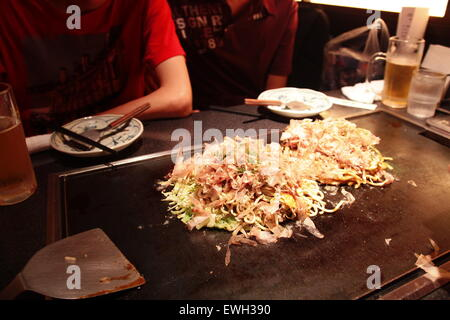 Japanese style Pizza - Okonomiyaki - Stock Photo