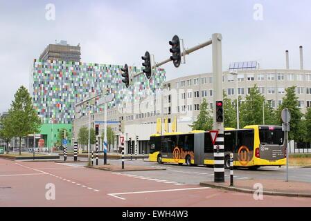 University buildings and student housing 'Casa Confetti' (2008) at  De Uithof Campus Utrecht, Netherlands. - Stock Photo