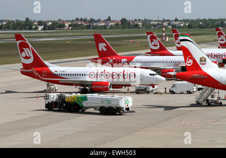 Berlin, Germany, airfield tankers from BP before aircraft of Air Berlin - Stock Photo
