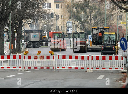 Berlin, Germany, road closure due to road works - Stock Photo