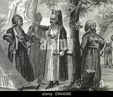 Janissaries. Elite infantry units that formed the Ottoman Sultan's household troops and bodyguards. Engraving. 19th - Stock Photo