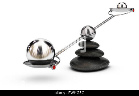Two spheres with different sizes on a seesaw over white background, imbalance concept or symbol - Stock Photo