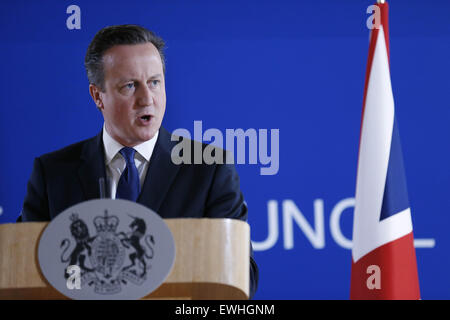 Brussels, Belgium. 26th June, 2015. British Prime Minister David Cameron speaks during a press conference after an EU summit in Brussels, Belgium, June 26, 2015. Credit:  Ye Pingfan/Xinhua/Alamy Live News