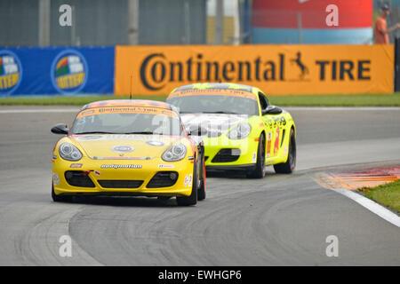 March 14, 2015 - Watkins Glen, NY, U.S. - Watkins Glen, NY - Jun 26, 2015: The Bodymotion Racing Porsche Cayman - Stock Photo