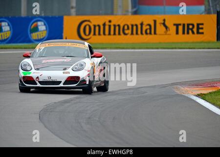 March 14, 2015 - Watkins Glen, NY, U.S. - Watkins Glen, NY - Jun 26, 2015: The RS1 Porsche Cayman races through - Stock Photo