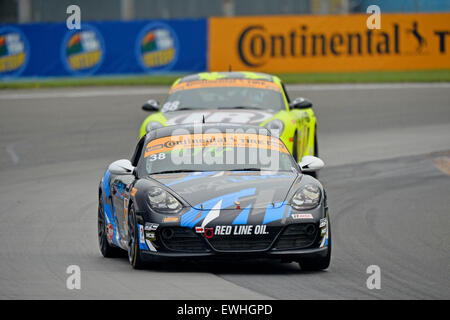 March 14, 2015 - Watkins Glen, NY, U.S. - Watkins Glen, NY - Jun 26, 2015: The Next Level European Porsche Cayman - Stock Photo