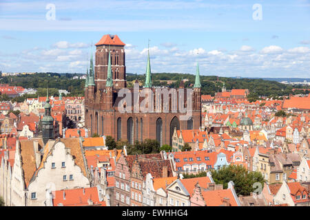 View on the city of Gdansk in Poland. The city is the historical capital of Polish Pomerania with medieval old town - Stock Photo