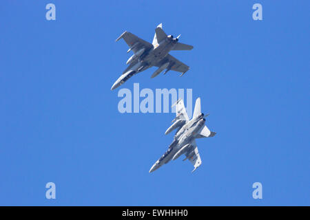 Spanish Air Force F-18 Hornets flyby - Stock Photo