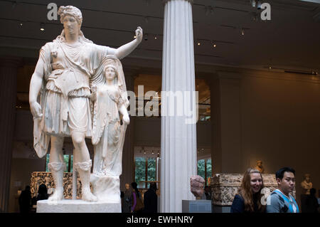 Marble statue of Dionysos leaning on an archaistic female figure. Roman, Augustan of Julio Claudian period, 27 bc - Stock Photo