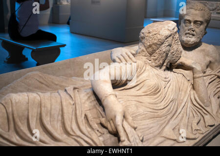 Marble sarcophagus lid with reclining couple. Roman, severan period. Chamber of the Greco-Roman period in the Metropolitan - Stock Photo