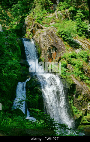 A natural spectacle of a special kind in the Black Forest, the highest waterfalls in Germany in Triberg - Stock Photo