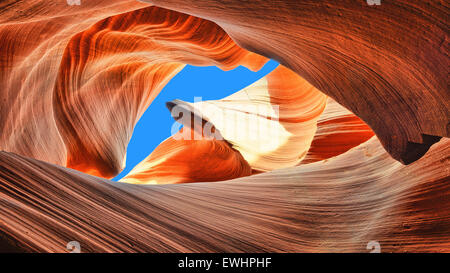 The blue sky over the Antelope Slot Canyon, Arizona - Stock Photo