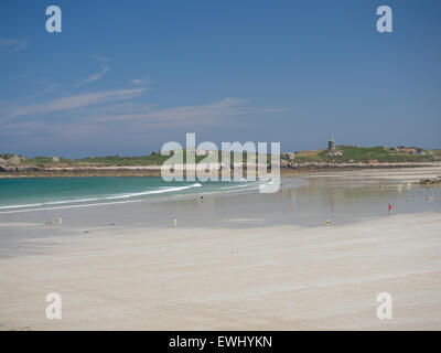 Pembroke Bay on the north coast of Guernsey in the Channel Islands - Stock Photo