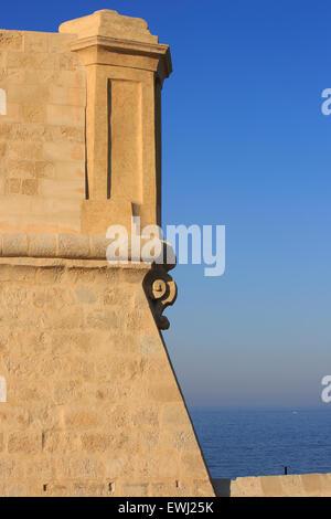 A traditional Maltese watchtower at Fort Saint Elmo in Valletta, Malta - Stock Photo