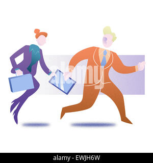 Illustration of business colleagues in a rush getting late for office - Stock Photo