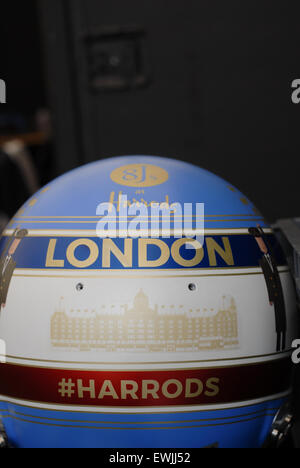 London, UK. 27th June, 2015. Action from the London Formula-e Grand Prix on the streets of Battersea Park, London. - Stock Photo