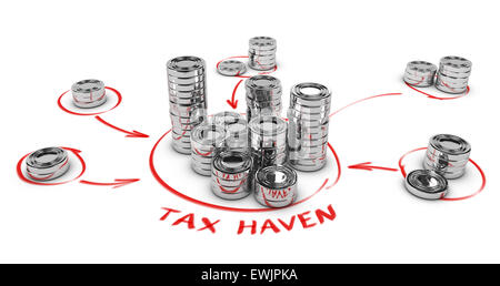 Stacks of generic coins over white background with arrows pointing the center. Conceptual image for tax evasion. - Stock Photo