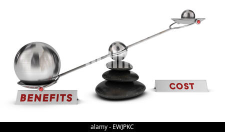 Two spheres with different sizes on a seesaw plus two signs cost and benefits over white background, marketing analysis - Stock Photo