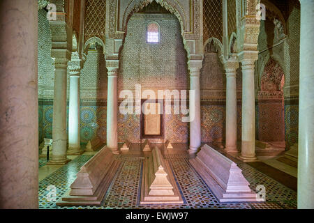 Interior of the Saadian Tombs, Marrakesh, Morocco Marrakesh, Africa - Stock Photo