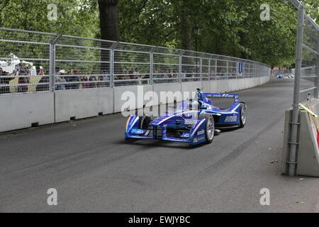 London, UK. 27th June, 2015.  Round 10 of the FIA Formula E Visa London ePrix electric car racing at Battersea Park, - Stock Photo