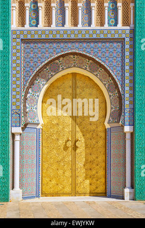 Doors to Royal Palace in Fez, Morocco, Africa - Stock Photo