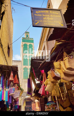 Streets of Fez Medina, Morocco, Africa - Stock Photo