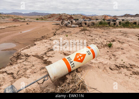 Historic low lake levels at Lake Mead's Echo Bay in Southern Nevada. - Stock Photo
