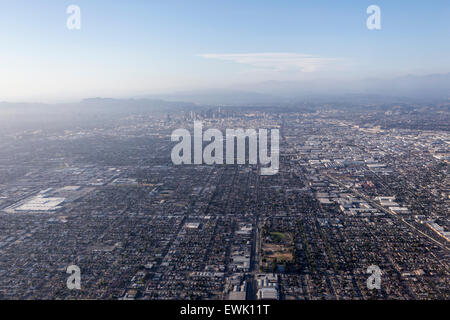 Downtown Los Angeles smoggy sky aerial. - Stock Photo
