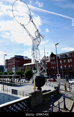 Beacon of Hope, sculpture, by Andy Scott, Thanksgiving Square. Belfast. Northern Ireland. UK - Stock Photo