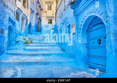 Blue painted walls in old medina of Chefchaouen, Morocco, Africa - Stock Photo
