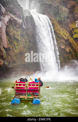 Tourists rafting at Ouzoud Waterfalls, Beni Melal, Morocco, Africa - Stock Photo