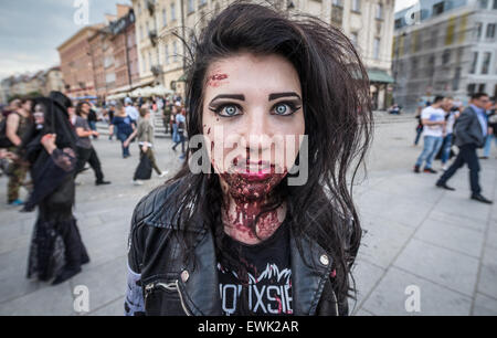 Warsaw, Poland. 28th June 2015. Participant of the 9th Zombie Walk in Warsaw. During annual event people dressed - Stock Photo