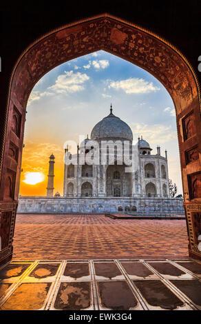 Sunrise at Taj Mahal in Agra, India - Stock Photo