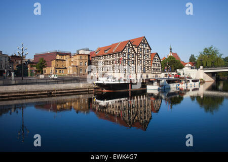City of Bydgoszcz in Poland and Granaries by the Brda river. - Stock Photo
