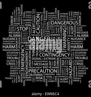 DANGER. Background concept wordcloud illustration. Print concept word cloud. Graphic collage. - Stock Photo