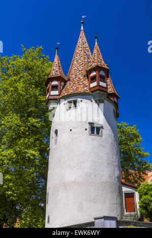 Diebsturm on Schrannenplatz, Lindau, Bavaria, Germany, Europe - Stock Photo