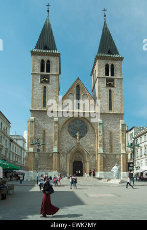 The Sacred Heart Cathedral in Sarajevo - Stock Photo