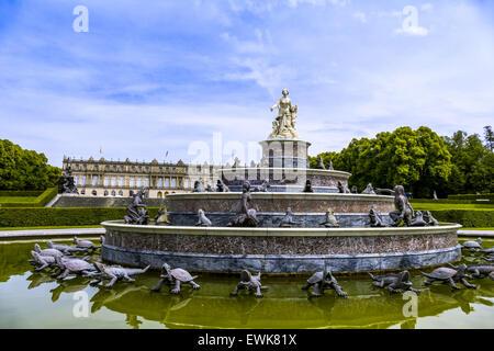 Latona Fountain, Herrenchiemsee Palace, Herreninsel, Gentleman s Island, Lake Chiemsee, Chiemgau, Upper Bavaria, - Stock Photo